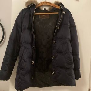 Coach brand winter coat navy blue fur hood size M